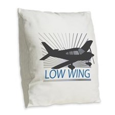 Aircraft Low Wing Burlap Throw Pillow
