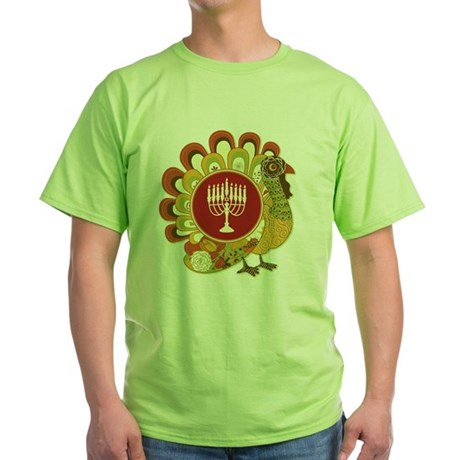 Decorative Turkey Menorah Green T-Shirt