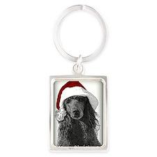 Christmas Poodle Portrait Keychain