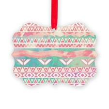 Watercolor Turquoise Pink Girly A Ornament