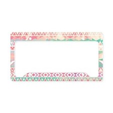 Watercolor Turquoise Pink Gir License Plate Holder