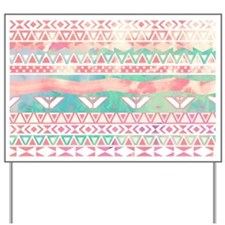 Watercolor Turquoise Pink Girly Abstract Yard Sign