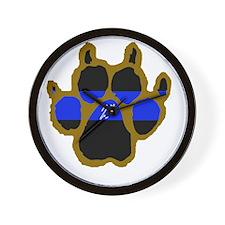 Brown Thin Blue Line Paw Enforcement 2  Wall Clock