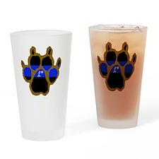 Brown Thin Blue Line Paw Enforcemen Drinking Glass