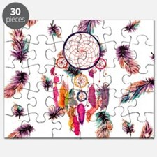 Hipster Watercolor Dreamcatcher Feathers Pa Puzzle
