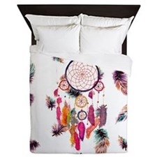 Hipster Watercolor Dreamcatcher Feathe Queen Duvet