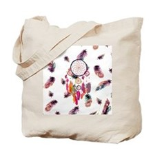 Hipster Watercolor Dreamcatcher Feathers  Tote Bag