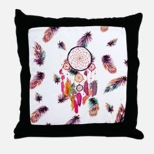 Hipster Watercolor Dreamcatcher Feath Throw Pillow