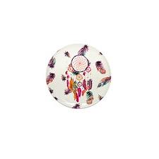 Hipster Watercolor Dreamcatcher Feathe Mini Button
