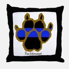 Brown Thin Blue Line Paw Enforcement Throw Pillow