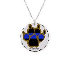 Brown Thin Blue Line Paw Enf Necklace