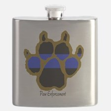 Brown Thin Blue Line Paw Enforcement Flask