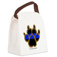 Brown Thin Blue Line Paw Enforcem Canvas Lunch Bag