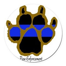Brown Thin Blue Line Paw Enforcem Round Car Magnet
