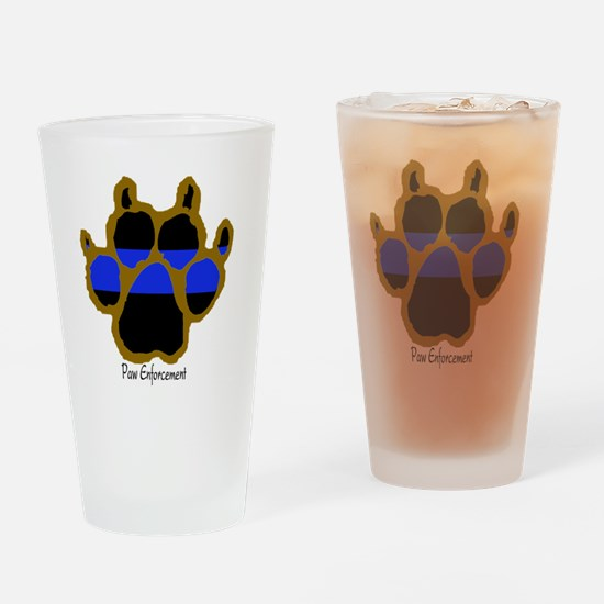 Brown Thin Blue Line Paw Enforcemen Drinking Glass