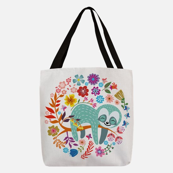 Cute Sloth Polyester Tote Bag