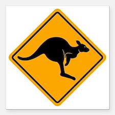 """Kangaroo Sign A2 copy Square Car Magnet 3"""" x 3"""""""