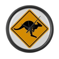 Kangaroo Sign A2 copy Large Wall Clock