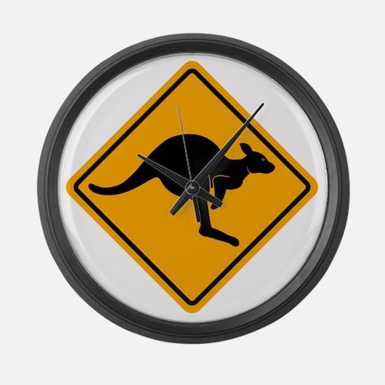 Kangaroo Sign A2 copy Large Wall Clock