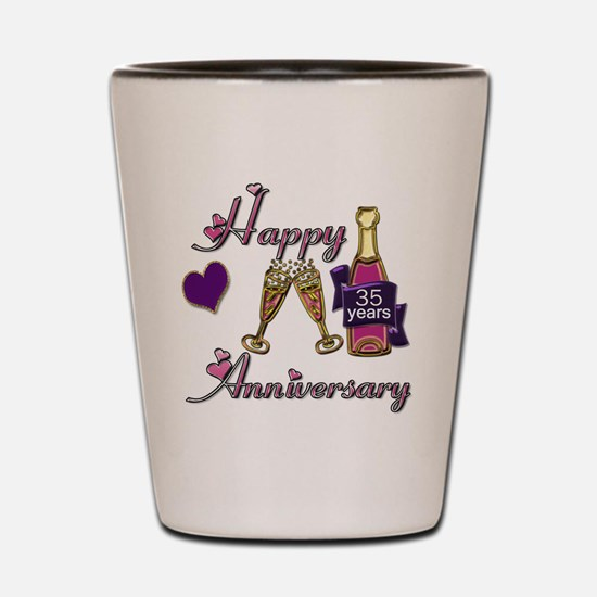 Anniversary pink and purple 35 copy Shot Glass