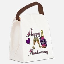 Anniversary pink and purple 35 co Canvas Lunch Bag