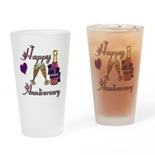 Anniversary pink and purple 5 Drinking Glass