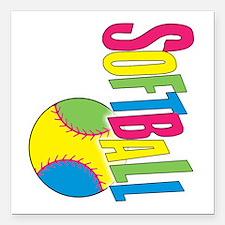 """softball a(blk) Square Car Magnet 3"""" x 3"""""""