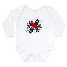 Holly Berries & Red Ca Long Sleeve Infant Bodysuit