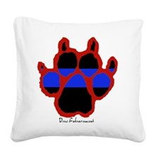 Red Paw  (Paw Enforcement- li Square Canvas Pillow