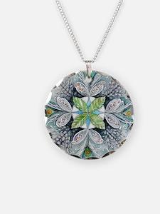 Peacock mandala Necklace Circle Charm