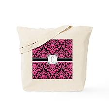 Letter C Monogram Floral Damask Typograph Tote Bag