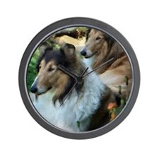 Two Sable Rough Colies Wall Clock