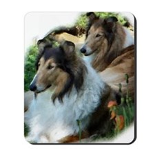 Two Sable Rough Colies Mousepad