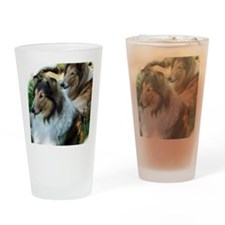 Two Sable Rough Colies Drinking Glass