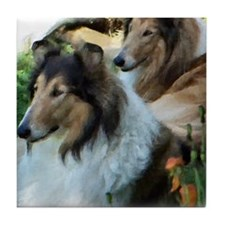Two Sable Rough Colies Tile Coaster