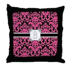 Letter B Monogram Floral Damask Typog Throw Pillow