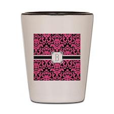 Letter B Monogram Floral Damask Typogra Shot Glass
