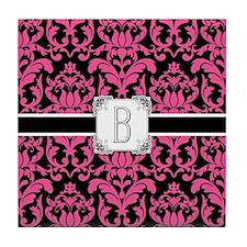 Letter B Monogram Floral Damask Typog Tile Coaster