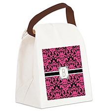 Letter B Monogram Floral Damask T Canvas Lunch Bag
