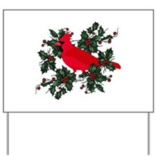 Holly Berries & Red Cardinals Yard Sign