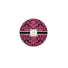 Letter H Monogram Floral Damask Typogr Mini Button