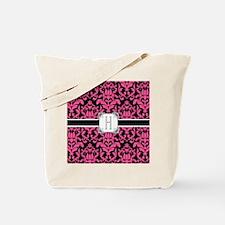 Letter H Monogram Floral Damask Typograph Tote Bag