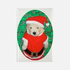 Santa Claus Golden Retriever Pupp Rectangle Magnet