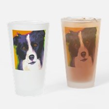border collie cafe Drinking Glass