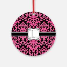 Letter L Monogram Floral Damask Typ Round Ornament