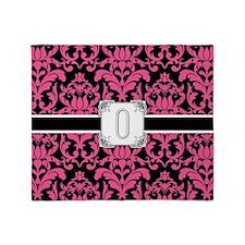 Letter O Monogram Floral Damask Typo Throw Blanket