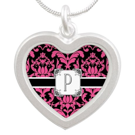 Letter P Monogram Floral Dam Silver Heart Necklace