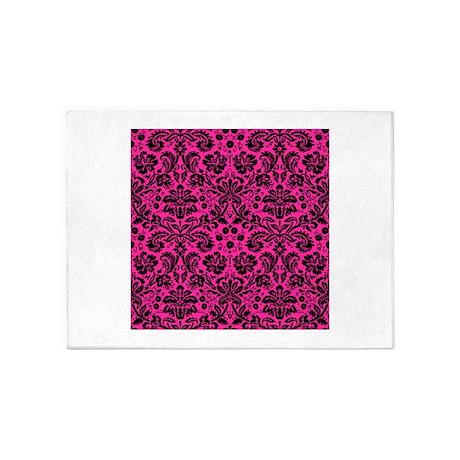 hot pink and black damask rug