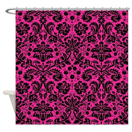 Hot Pink And Black Damask Shower Curtain By Admin Cp49789583