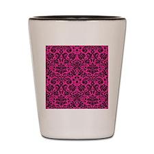 Hot pink and black damask Shot Glass